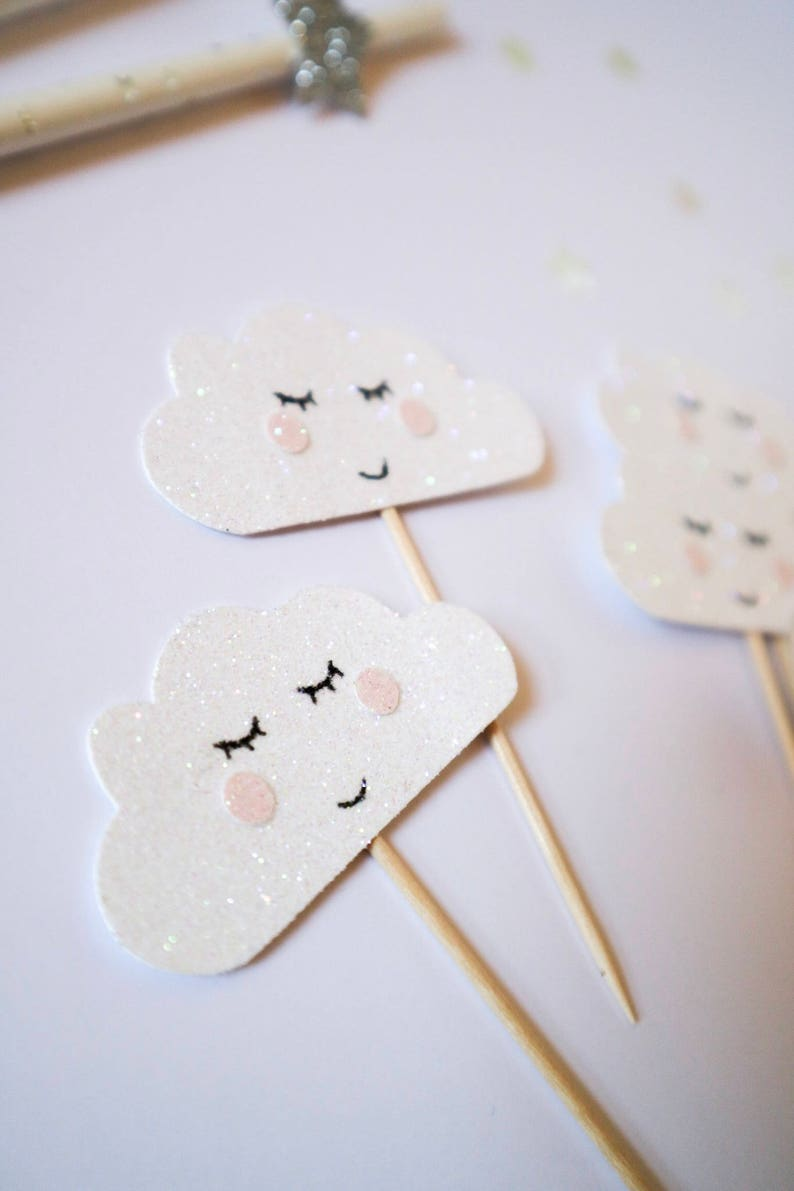 Baby Shower Birthday Cloud Glitter Cup cake Toppers