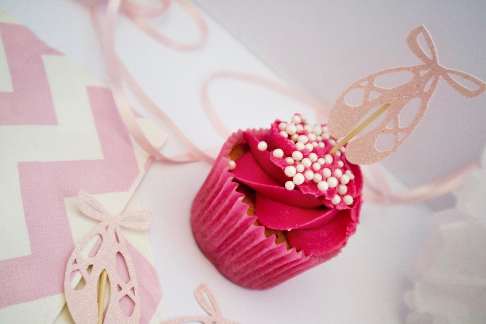 ballet shoe glitter cupcake topper - ballerina - birthday - celebration - ballet party