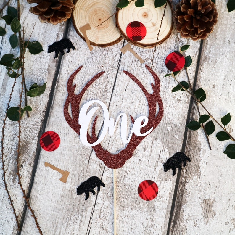 Personalised AgeName Lumberjack Deer Antlers woodland Cake Topper Brown GlitterCream