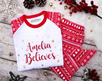 Personalised Name Believes Christmas 2021 Red and White Pyjamas - Red Christmas Pj's - Nightwear