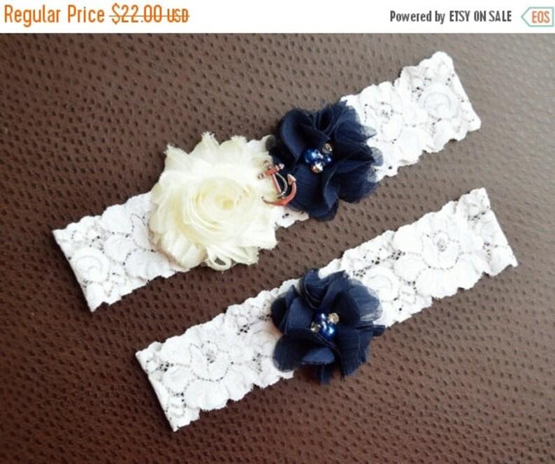Navy Blue Sailor Wedding Garter set Nautical Wedding Anchor Garter Set