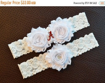 ON SALE Alabama Crimson Tide Wedding Garter Set, University of Alabama Garter, Alabama Crimson Tide Bridal Garter Set, White Lace Wedding Ga