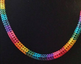 Rainbow Chainmaille Necklace