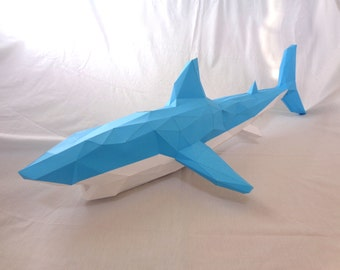Shark Papercraft PDF Pack - 3D Paper Sculpture Template with Instructions - DIY Wall Decoration - Animal Trophy