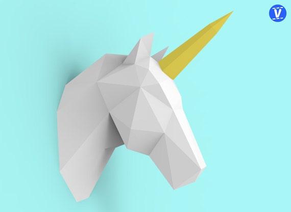unicorn head papercraft pdf pack 3d paper sculpture template etsy