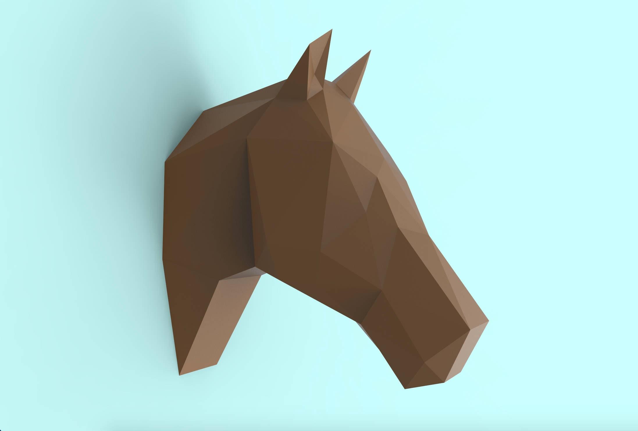 Horse Head Papercraft PDF Pack 3D Paper Sculpture Template