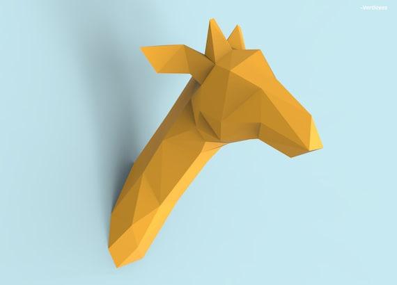 Giraffe Head Papercraft Pdf Pack 3d Paper Sculpture Template Etsy