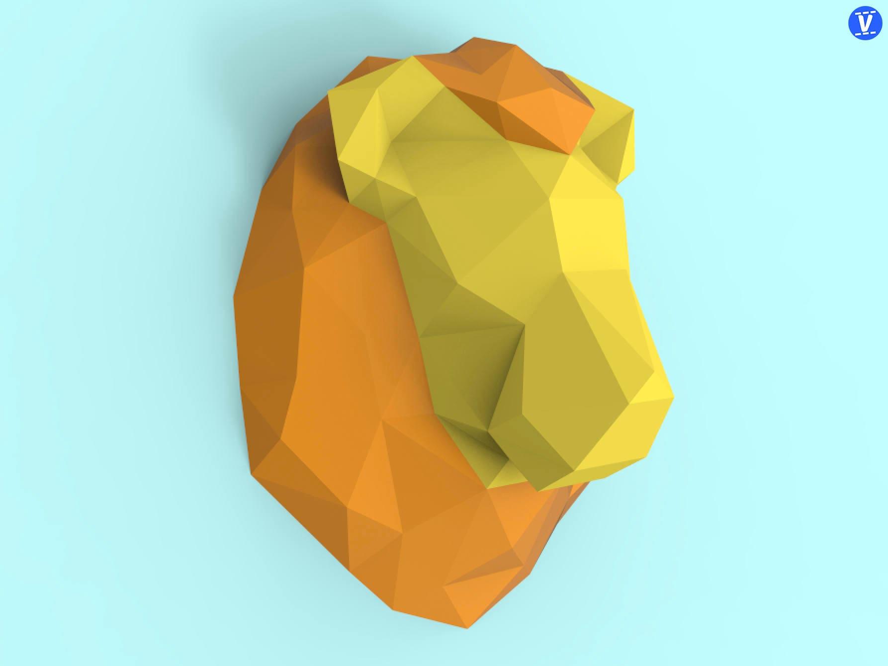Lion Head Papercraft PDF Pack - 3D Paper Sculpture Template with ...