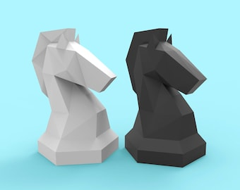 Knight Giant Chess Pieces Papercraft PDF Pack - 3D Paper Sculpture Template with Instructions - DIY Decoration