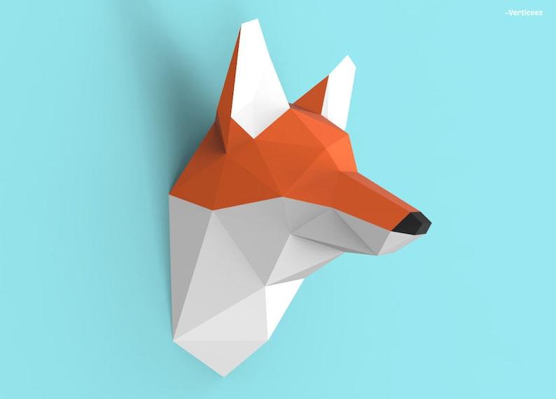 Fox Head Papercraft Pdf Pack 3d Paper Sculpture Template Etsy