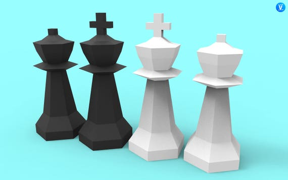 King And Queen Giant Chess Pieces Papercraft Pdf Pack 3d Etsy