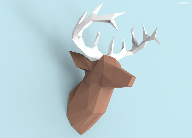 Deer Head Papercraft PDF Pack  3D Paper Sculpture Template image 0