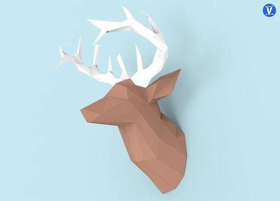 deer head papercraft pdf pack 3d paper sculpture template etsy