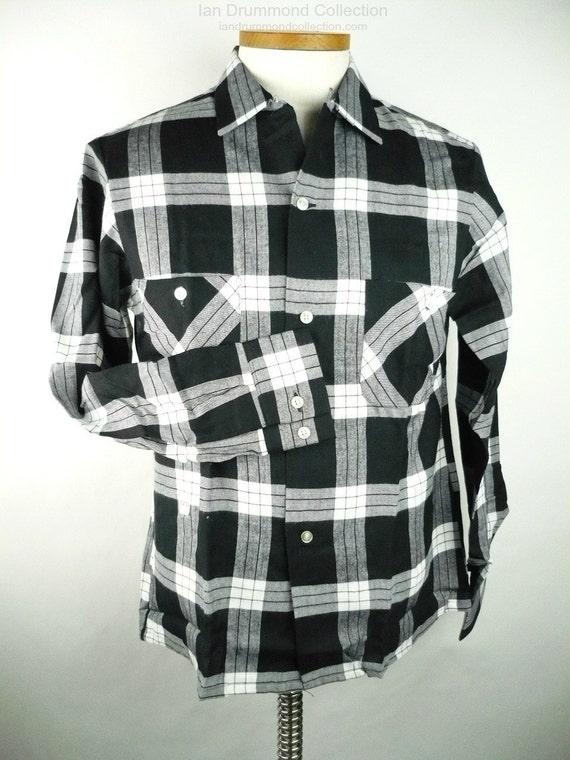 b4ceb35e1b6b Vintage 1950s Mens Flannel Shirt NOS Black and White Plaid