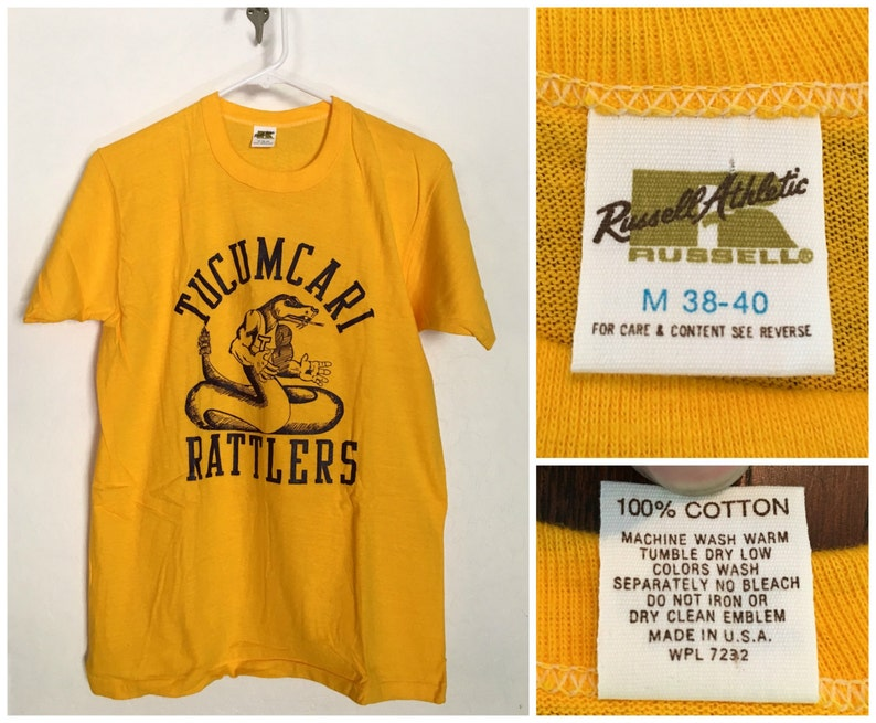 Deadstock 70s 100% Cotton Russell Athletic Tube Knit T Shirt, Paper Thin  (Med )