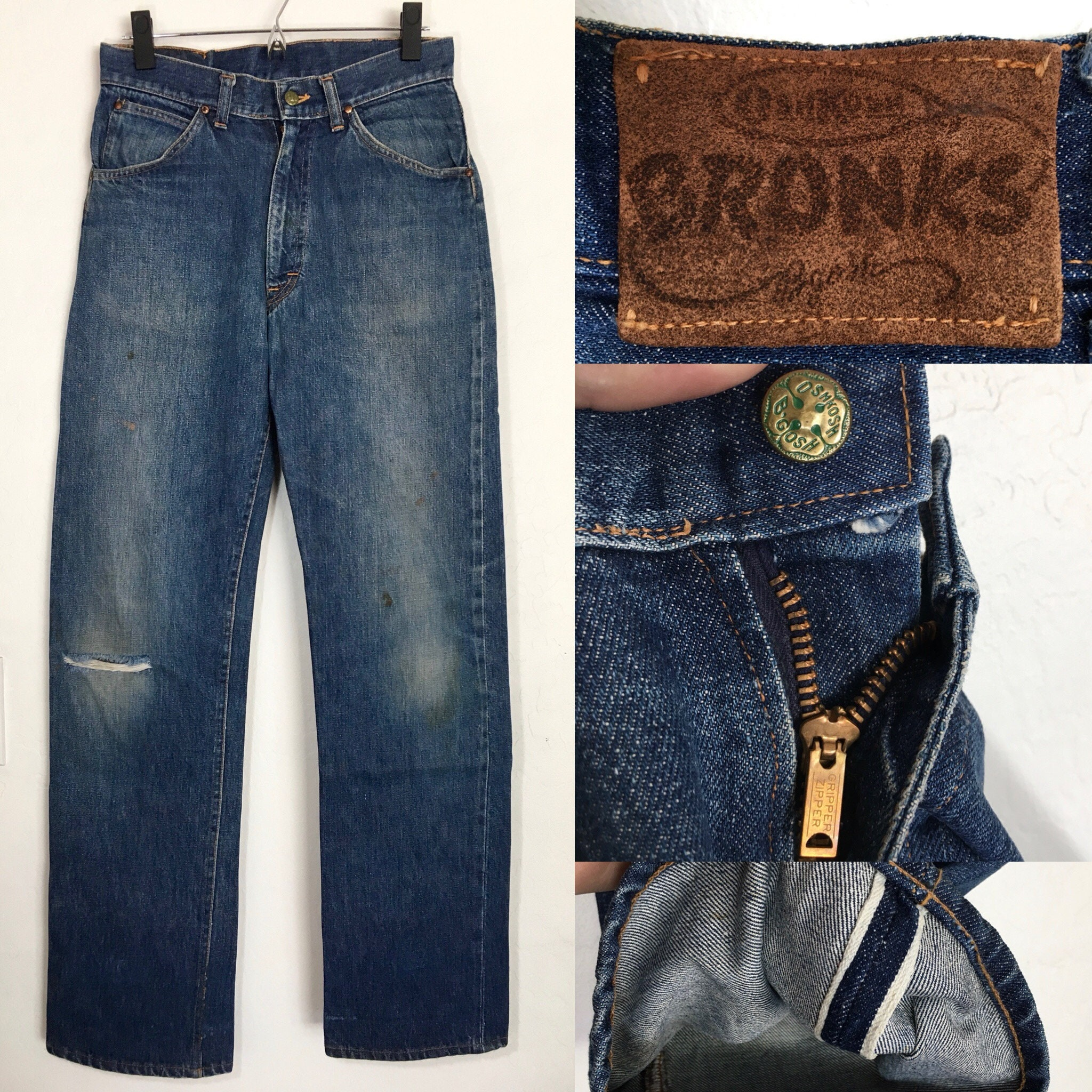 50s Oshkosh Bronks Selvedge Denim Jeans Gripper Etsy