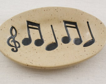 Music Notes Pottery Soap Dish