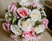 Ivory and pink rose silk wedding bouquet.