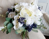Ivory, champagne and navy blue silk wedding bouquet.