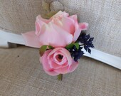 Pink and navy blue silk wedding buttonhole / boutonniere.