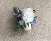 Blue and white silk weddi...
