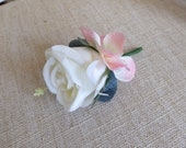 Ivory and pink silk wedding buttonhole / boutonniere.