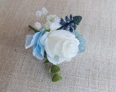 Dusky blue and white silk wedding buttonhole / boutonniere.