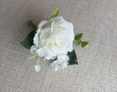 White rose silk wedding buttonhole / boutonniere.