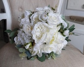 Ivory peony and rose silk wedding bouquet