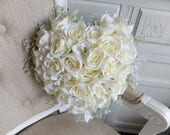 Heart shape roses silk wedding bouquet.