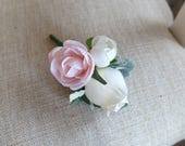 Ivory and blush pink silk wedding rose buttonhole / boutonniere.