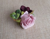 Dusky pink and burgundy silk wedding buttonhole / boutonniere. Rose and hydrangea buttonhole