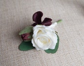 Burgundy and ivory cluster silk wedding buttonhole / boutonniere. Silk wedding flowers