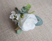 White rose silk wedding buttonhole / boutonniere. Rose, lambs ear and eucalyptus.