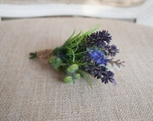 Rustic lavender silk wedding buttonhole / boutonniere.