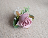 Dusky pink rose silk wedding buttonhole / boutonniere. Rose and gypsophila buttonhole