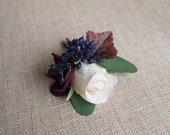 Burgundy, blush and navy blue cluster silk wedding buttonhole / boutonniere. Silk wedding flowers