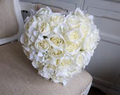 Heart shape silk roses wedding bouquet.