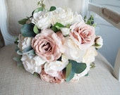 Blush, dusky pink and champagne silk wedding bouquet.