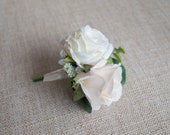 Champagne and ivory silk wedding buttonhole / boutonniere. Double rose buttonhole