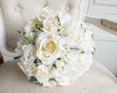 Classic white and cream silk wedding bouquet.