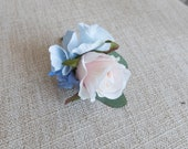 Blush peach and pale blue silk wedding buttonhole / boutonniere.