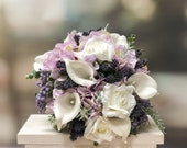 Elegant white, lilac and lavender silk wedding bouquet