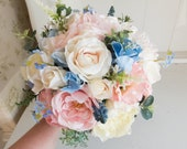 Pale pink and blue silk wedding bouquet.