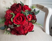 Red rose silk wedding bouquet.