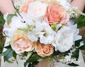 Coral roses and peonies s...
