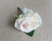 Blush pink rose silk wedding buttonhole / boutonniere.