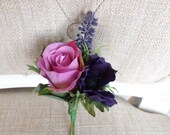 Purple and mauve silk wedding buttonhole / boutonniere.