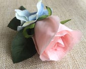 Pale pink and blue silk wedding buttonhole / boutonniere.