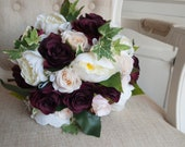Burgundy, ivory and champagne silk flowers wedding bouquet.